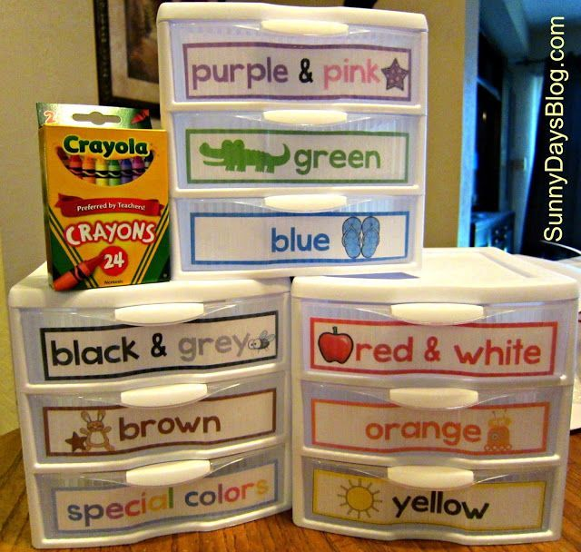 Drawers for extra crayons (both found on the floor and new ones for specific colors) free labels & how to