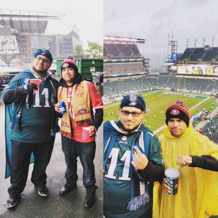 What a great day great win sorry Kevin you flew all this way to watch the Niners lose but props and thanks for coming all the way out here with me and earn the respect of almost all the eagles fans I know you repped your team for sure here I know you probably tired of hearing our fight song but there's nothing more I can say then Fly Eagles Fly on the road to Victory E.A.G.L.E.S EAGLES!!! #flyeaglesfly #philadelphiaeagles #beatthemwhiners #vacationcomplete #greattime #stormgame