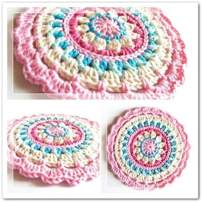 Little Spring Mandala: Crochet Potholders, Crochet Circles, Free Crochet, Mandala Patterns, Crochet Mandala, Mandalas, Crochet Patterns, Free Patterns, Spring Mandala