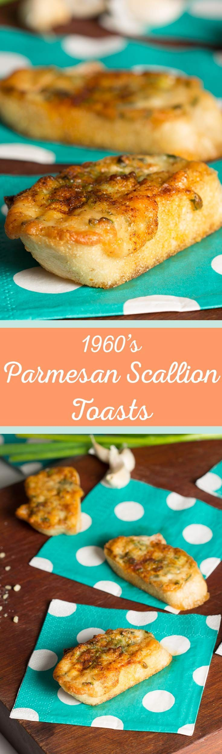 Parmesan Scallion Toasts - This vintage inspired recipe from the 1960's is a quick, easy, and tasty recipe for impromptu get togethers - http://cupofzest.com