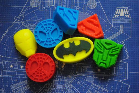 7 x Superhero Soap  Batman Iron Man Spiderman by NerdySoap on Etsy