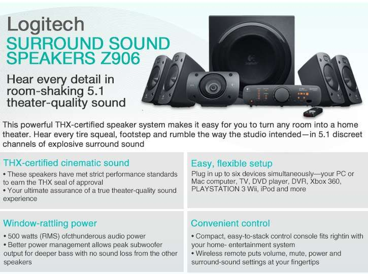 Shop Logitech Z906 5.1 Surround Sound Speaker System - (Instant Savings)