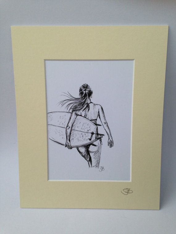 Mounted signed print of biro sketch surfer by Spellboundbythesea