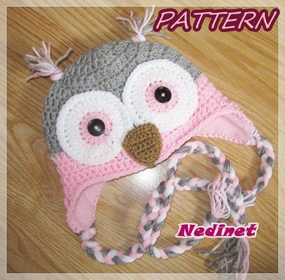 Crochet PATTERN Owl crochet hat pattern owl hat pattern