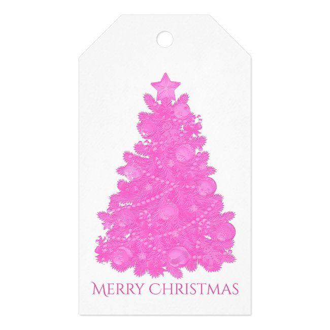 Embossed Look Pink Christmas Tree Gift Tags Zazzle Com In 2020 Christmas Tree Gift Tags Pink Christmas Tree Christmas Tree With Gifts