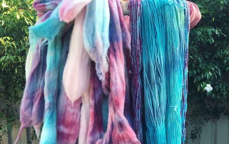 Hand dyed Australian merino yarn and roving
