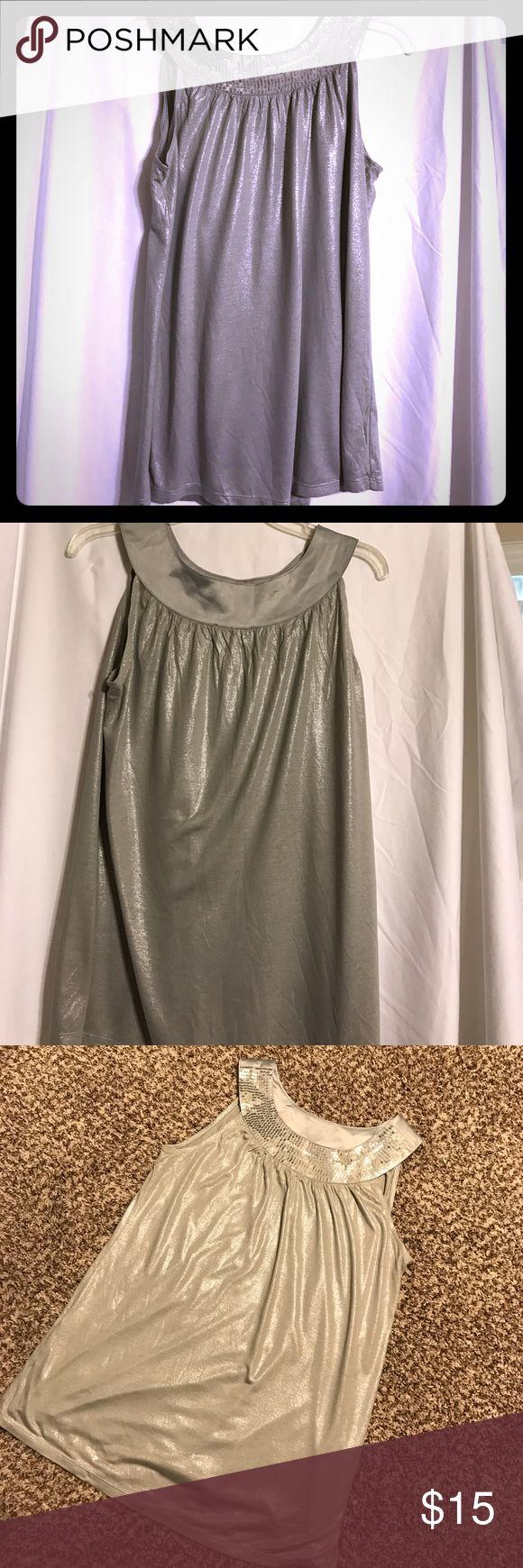 🌞CLEARANCE ITEM🌞 Express Party Top Shiny silver top with sequined neckline Express Tops Tank Tops