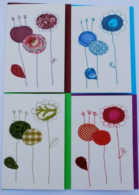 Stitched fabric cards - Funky flora. $4.50, via Etsy.