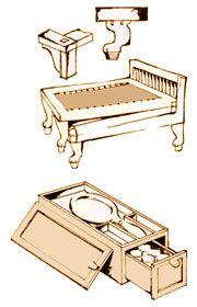 Раскладная кровать. Туалетная шкатулка. Древний Египет - www.Dizayne.ru
