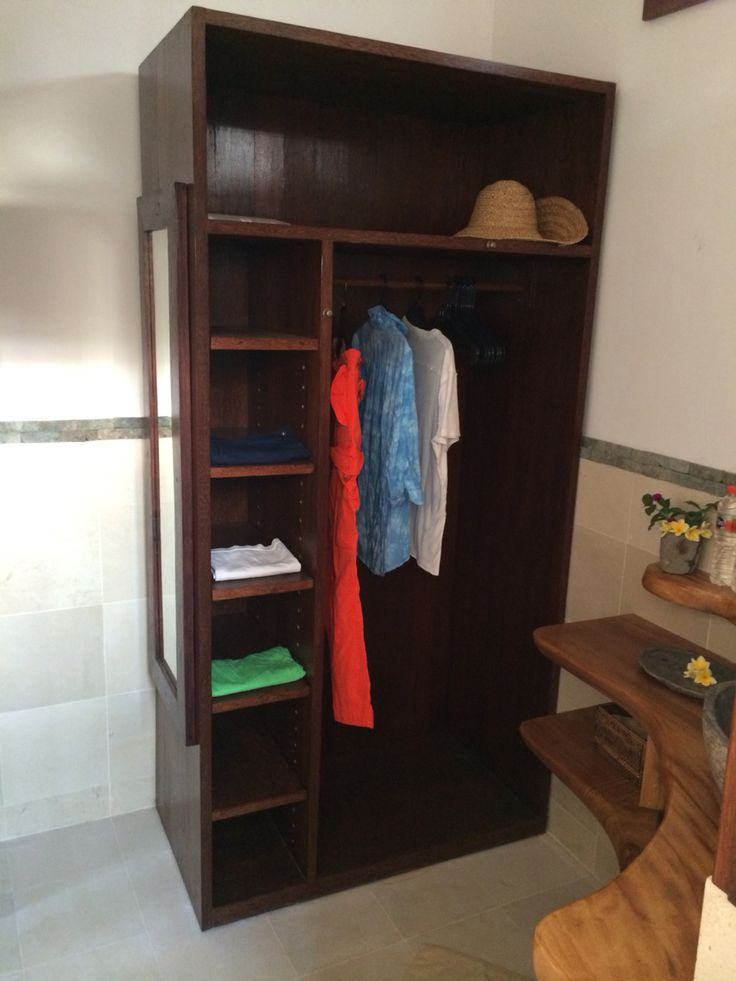 Master closet, space for hanging, folded, and luggage bags. Contemporary and modern living in Seminyak.