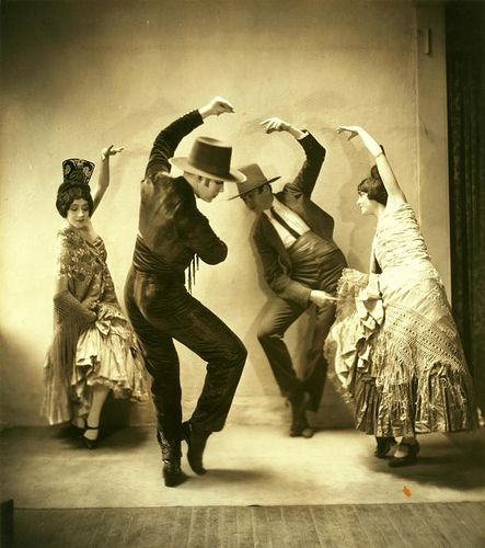 Ted Shawn and Denishawn Dancers in Pas de Quatre or Sevillanos with Jeordie Graham, Ted Shawn, Charles Weidman, Ernestine Day.. Goldberg, Maurice -- Photographer