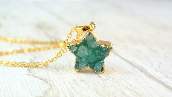 Star Shape Druzy Pendant / Agate Druzy Nacklace / Natural Geode Stone / Mineral Jewellery / Gift