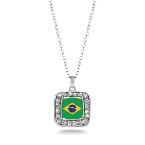 Inspired Silver Brazilian Flag Charm Necklace