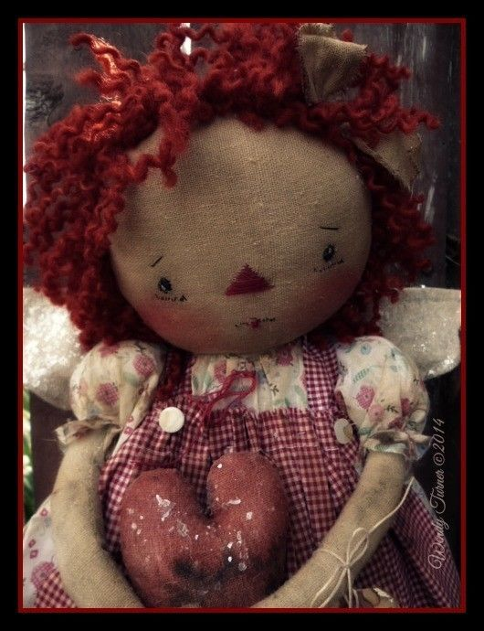 SWeeT 'N PRIMITIVE FoLK ART RaGGeDY ANN ANGEL DoLL ~ OOAK~ DeTaiLeD