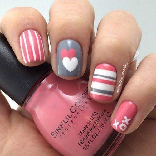 White and Grey Nail Designs for V Day picture2