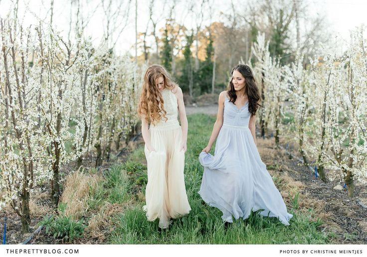 Beautiful dresses & spring blossoms | Photography: Christine Meintjes, Dresses: Rosenwerth, Venue: Brenaissance