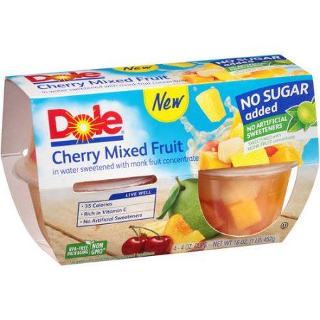Dole Fruit Cups Cherry Mixed Fruit No Sugar Added- 4 CT - Walmart.com