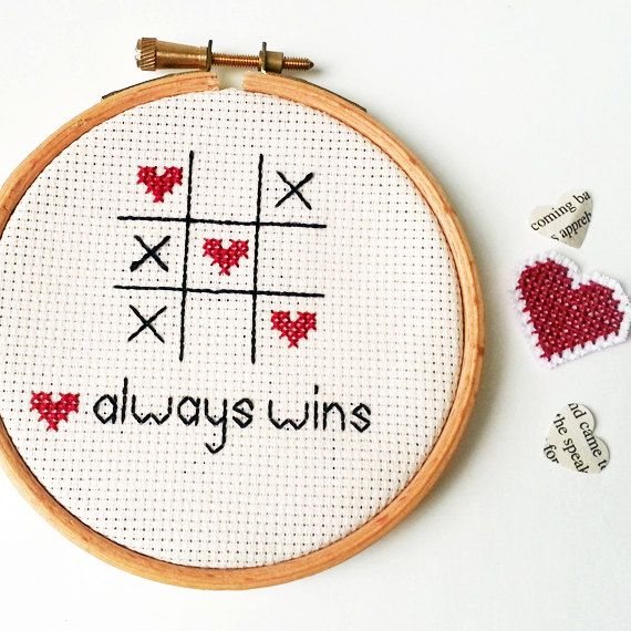 Embroidered Wall Art - Romantic Love Cross Stitch by SundownStitcher #lovealwayswins #quote #romantic #embroidery #crossstitch #xstitch #game #gift #cute #hoop #frame