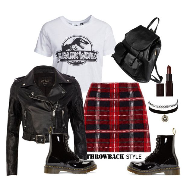 """""""90s grunge"""" by anchilly23 ❤ liked on Polyvore featuring New Look, Miu Miu, River Island, Dr. Martens, Charlotte Russe, PARENTESI and Laura Mercier"""