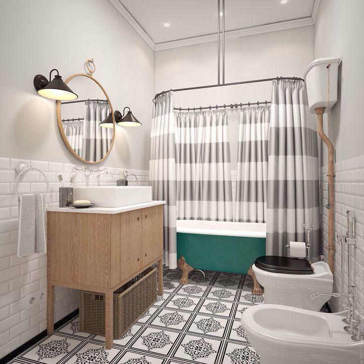 Винтажные лампы в ванной комнате. Бирюзовый акцент ванны. Дизайн ванной в двухкомнатной квартире.