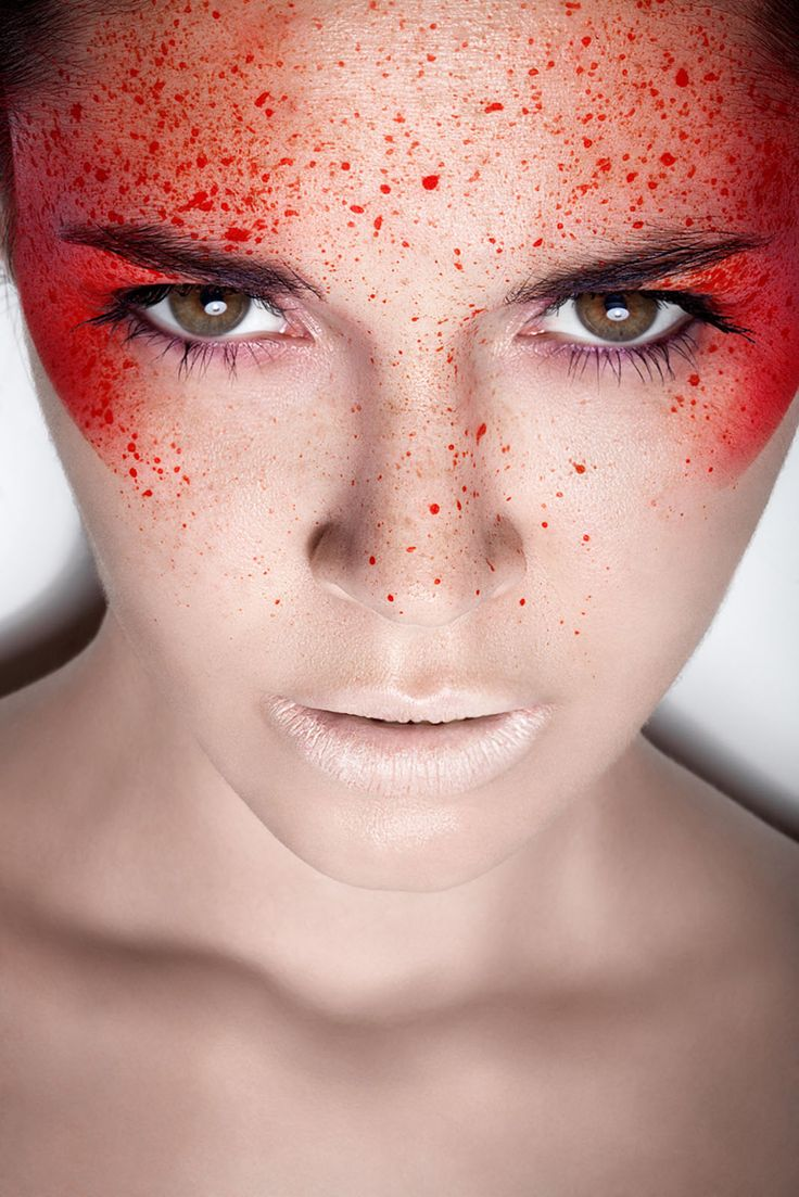 Blood splatter makeup ~ this would be very cool for a theme party!
