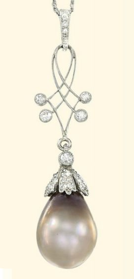 AN EDWARDIAN NATURAL PEARL AND DIAMOND PENDANT NECKLACE, EARLY 19TH CENTURY. The light brown drop-shaped pearl weighing 12.96 carats to the diamond-set cap, suspended from a wirework panel with circular-cut diamond detail to the diamond-set line surmount with fine-link neckchain, pendant circa 1905. #Edwardian #pendant