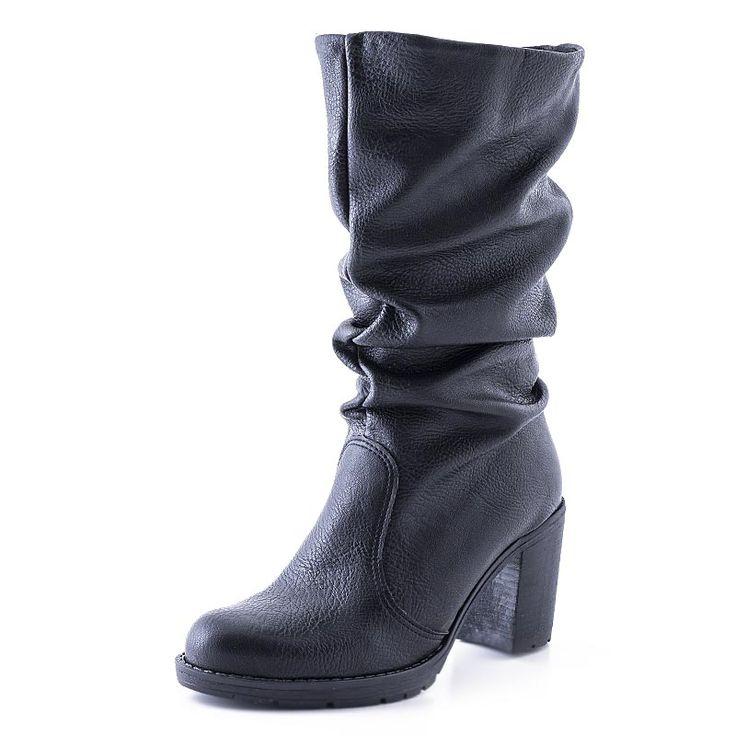 Γυναικείες μπότες Ioannis από συνθετικό δέρμα, σε μαύρο χρώμα και υφασμάτινη φόδρα. Διαθέτει σόλα από λάστιχο. Ύψος τακουνιού 7.5cm.
