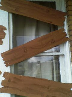 "Faux Wood Boards - DIY instructions on how to ""board"" up your windows"