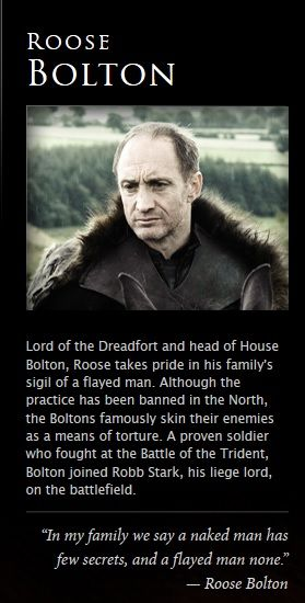 Photo of Roose Bolton for fans of Game of Thrones.