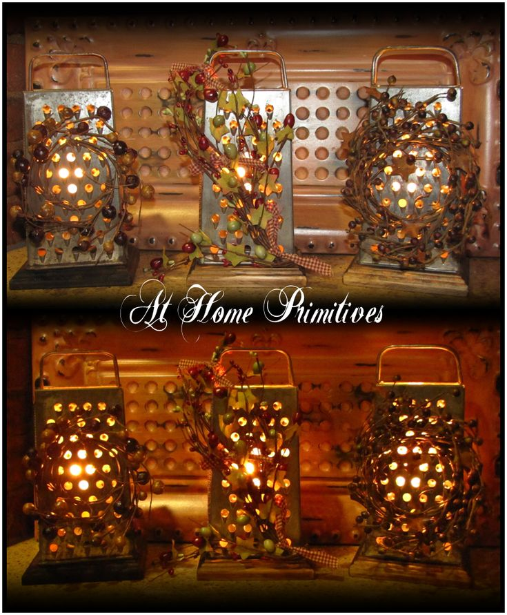 Cheese Grater Electric Lights -  These are great little accent lights for your kitchen counter! I just love the look of light coming through the punched holes. by At Home Primitives: