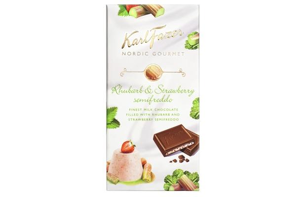 Karl Fazer Nordic Gourmet Rhubarb-strawberry semifreddo 125g suklaalevy Maitosuklaata, jossa raparperi-, mansikka-ja maitotäytettä.
