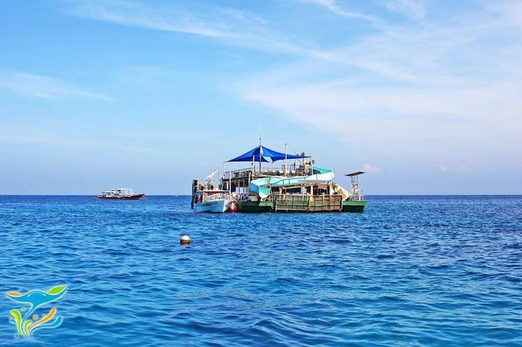 Pontoon wisata yang mengapung di tengah laut, dimana anda bisa meluncur langsu ke lautan terbuka.
