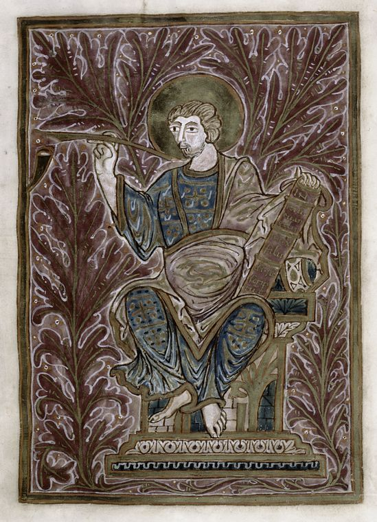 Full-page portrait of Mark in gold frame on purple background. (ca. 950)