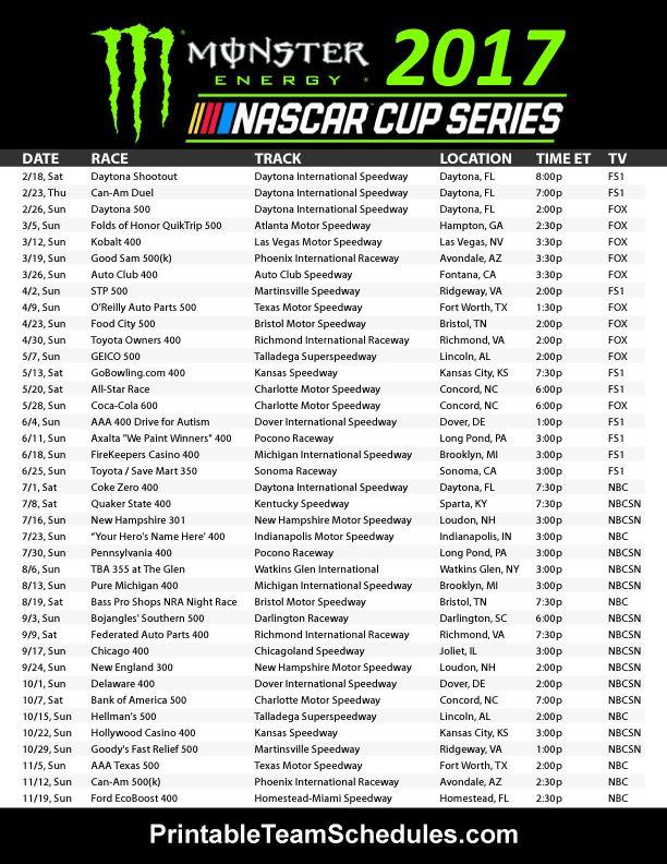 NASCAR Monster Energy Cup Series Schedule 2017. Print Here - http://printableteamschedules.com/NASCAR/cupseriesschedule.php
