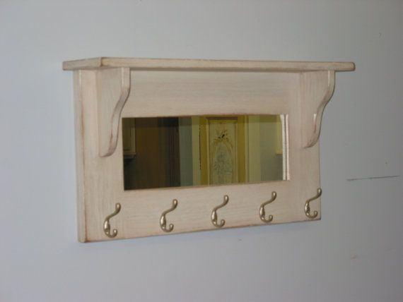 Entry Shelf With Hooks And Mirror White By Harvesttreasuresinc Bathroom Remodel