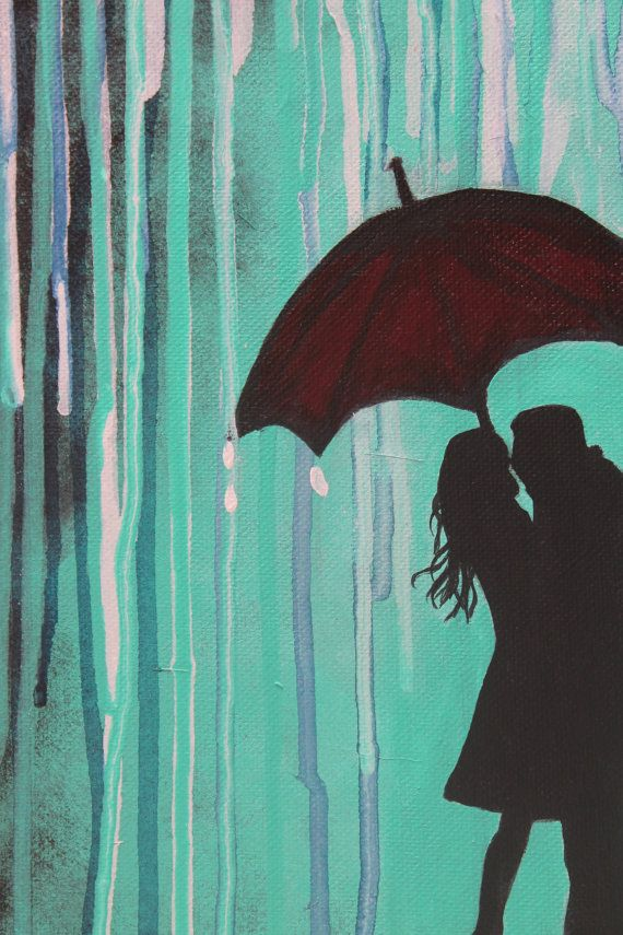 RESERVE For Brandi Umbrella Silhouette Couple Rain Love Painting Engagement True Romantic Kissing Art Wall Decor