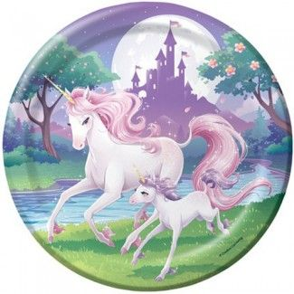 Unicorn Party Supplies, Unicorn Beauty Dinner Plates,  $2.42