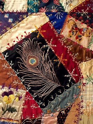 Victorian Era embroidery stitches on a Victorian Crazy Quilt.  [Telling Stories Through the Needle's Eye]