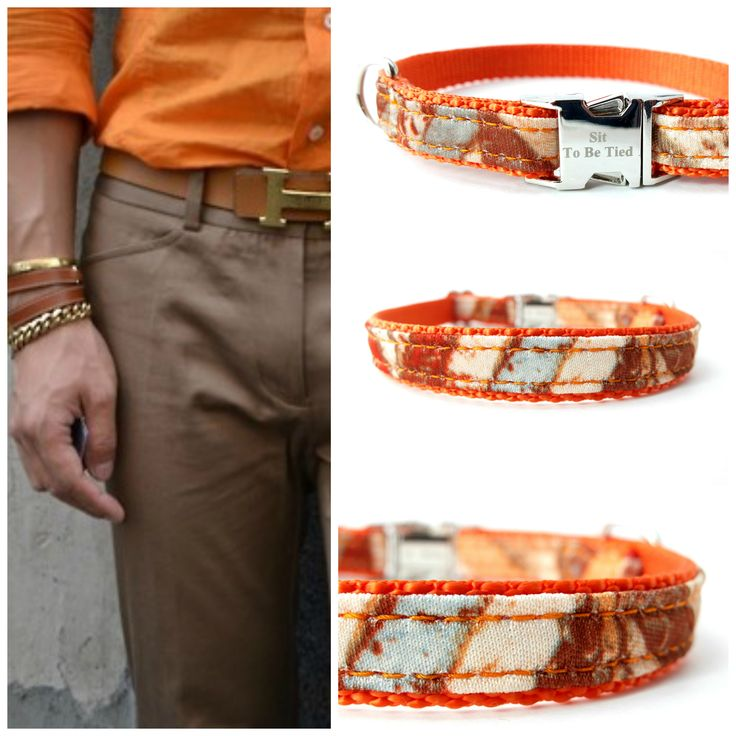 Fashion for your dog. Southwestern dog collar in orange, blue and rust. Men's style:Hermes. Dog style: Sit To Be Tied repurposed vintage necktie