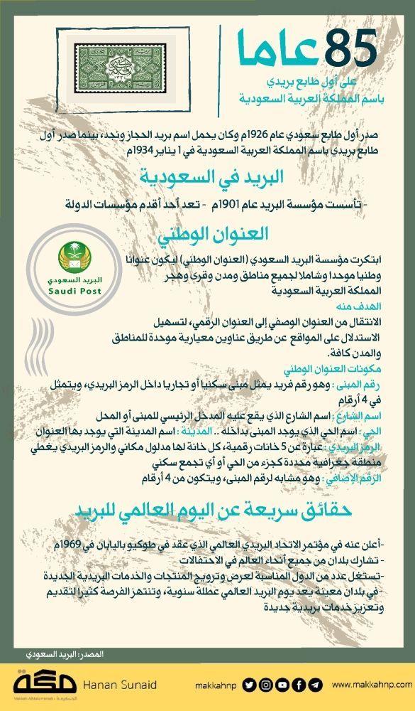 إنفوجرافيك 85 عاما على أول طابع بريدي باسم المملكة العربية السعودية طابع السعودية جراف صحيفة مكة البريد السعود Infographic Bullet Journal Journal