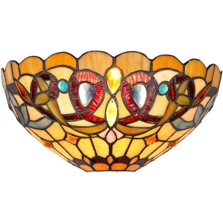 Chloe Lighting Serenity Tiffany-Style 1-Light Victorian Wall Sconce, 12 inch Wide, Multicolor