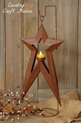 Primitive Country Folk Art Rusty Hanging Star Candle Holder Battery Tea Light   eBay