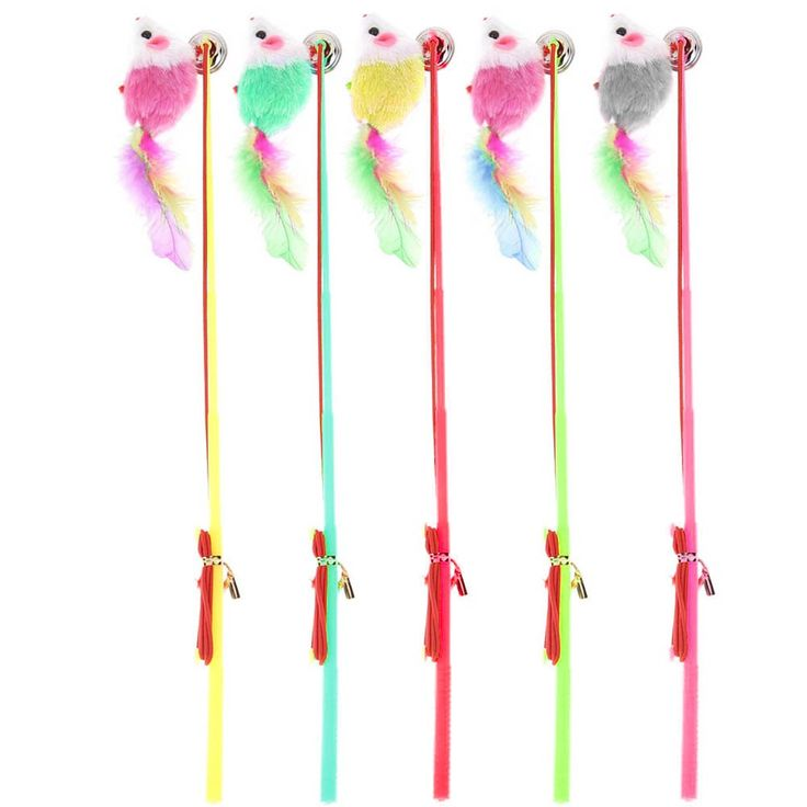 5Pcs/Lot Colorful Rods With Fake Mouse Teasers //Price: $9.95 & FREE Shipping //     #cats