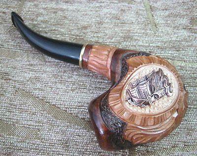 SHIP BOAT AUTHORS HANDMADE WOODEN TOBACCO SMOKING NEW PIPE HAND CARVED PIPES