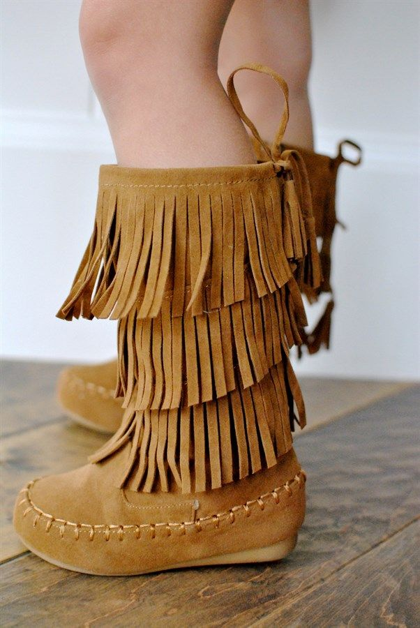 She'll triple her style with these 3-Layer Fringe Suede boots. Layered fringe styles a cute side-zip moccasin boot are perfect for fall fashion and keeping litte toes warm. The best thing about these shoes is slipping them on and off. Its the little things when your a mom of a toddler that you appreciate. Fits true to size.