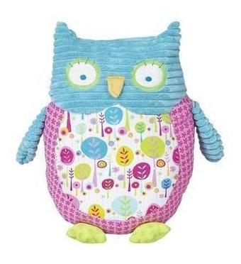 Pink & Aqua Decorative  Owl-owl,baby,room,nursery,pink.aqua,blue,pillow,animal,stuffed