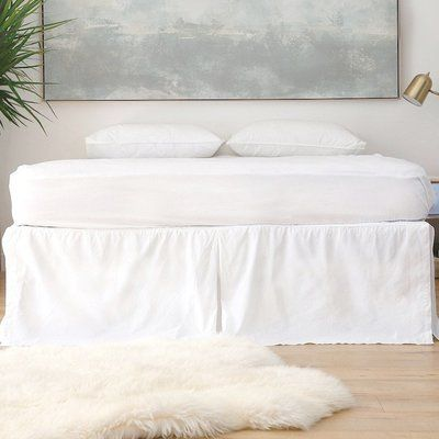 Loomstead Cotton Percale Pleated 300 Thread Count Bed Skirt Size: California King