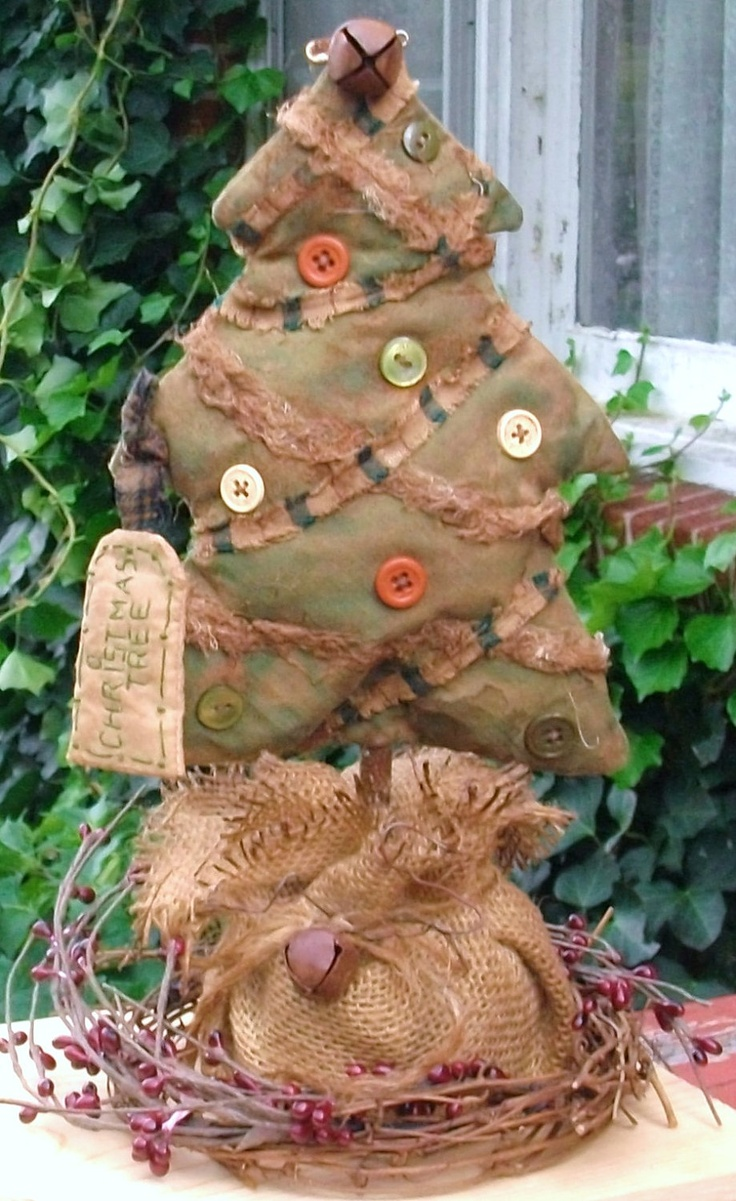 Primitive Christmas Decoration - Christmas Tree with Buttons, Homespun and Muslin - Burlap Base and Pipberry Ring. $35.00, via Etsy.