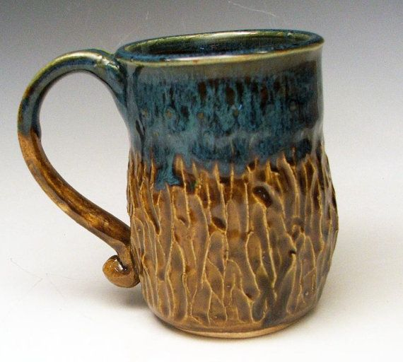 Carved Drip Glaze Ceramic Mugs in Amber Brown and Ocean Blue