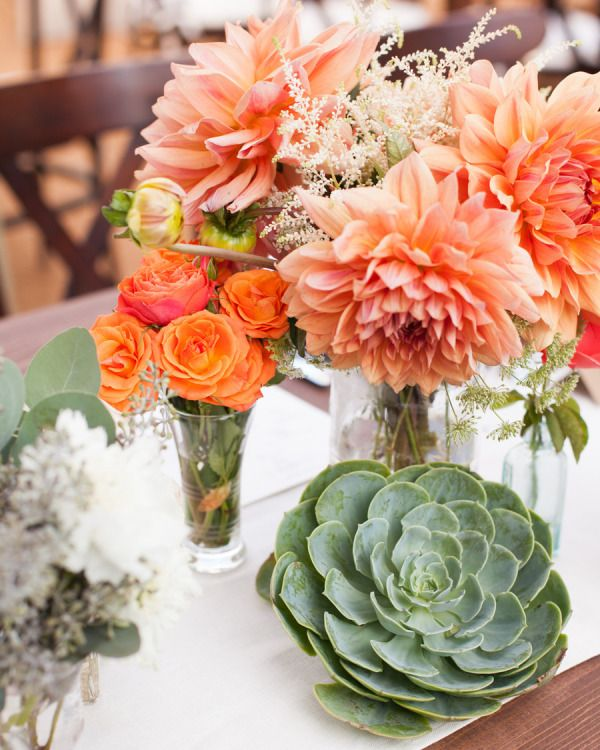 Love these peach Dahlias with succulents on the table!